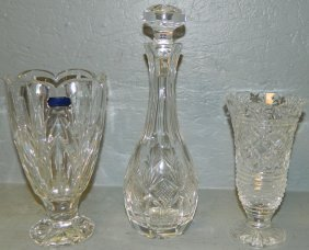 15: 2 Waterford Vases and Waterford decanter.