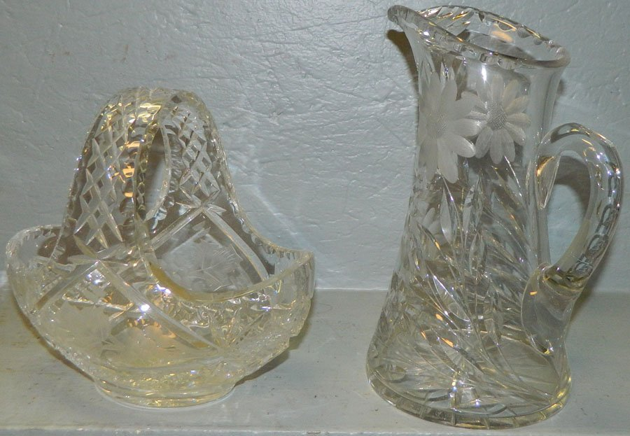 """16: Cut basket 8"""" tall and pitcher 10"""" tall"""