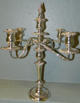 "19: 5 branch silver plate candelabra 20 1/2"" tall"