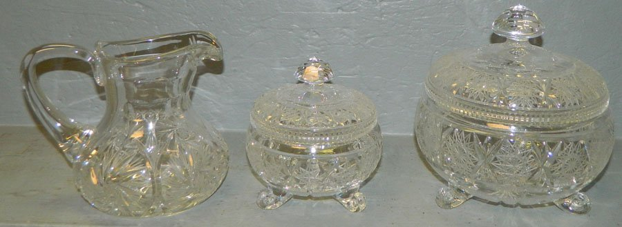 23: (2) Covered cut footed dishes, small cut pitcher
