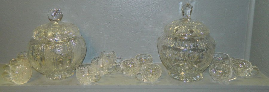 24: 2 Cut & pattern gl covered punch bowls w/ 6 cups