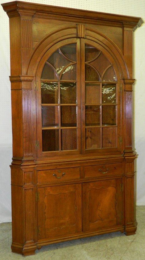 176: 18th c walnut and yellow pine corner cupboard