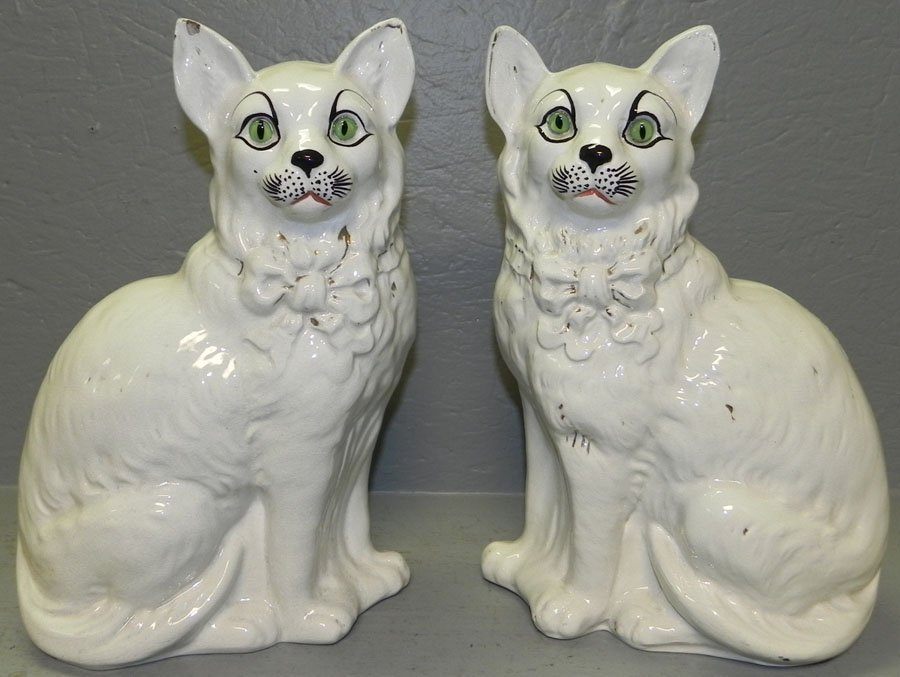 21: Pair of Staffordshire cats.