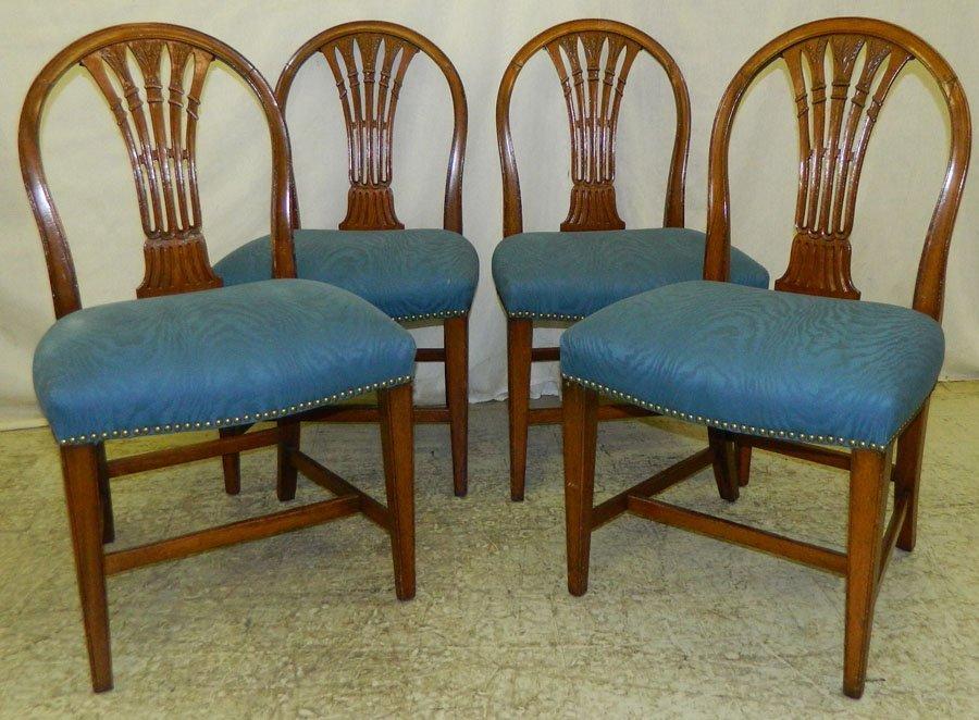 447: Set of 4 mah Hepplewhite bowback chairs.