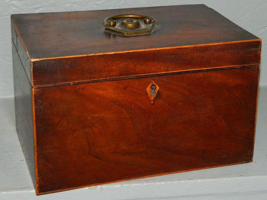 454: 19th Century mahogany tea caddy.