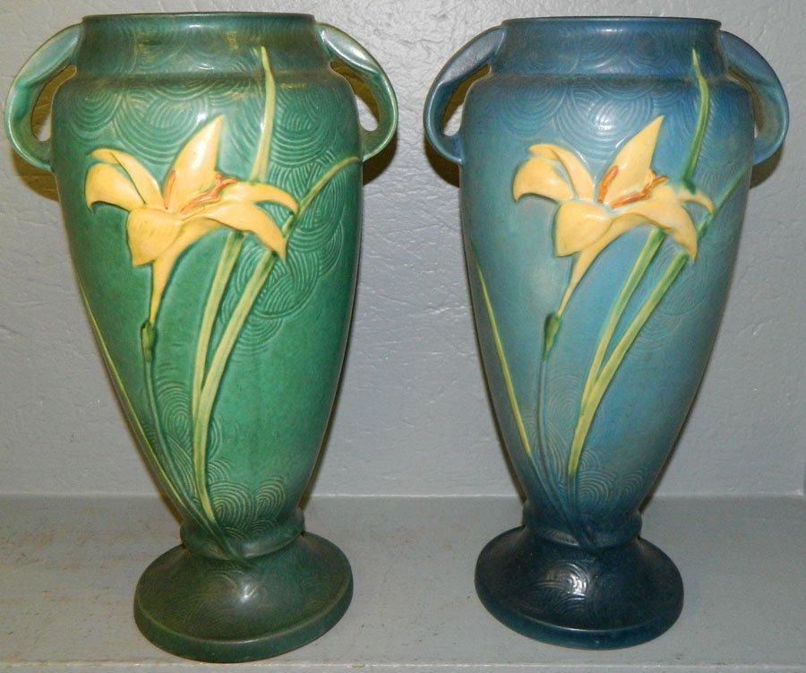 457: (2) Roseville Zephyr Lily floor vases.