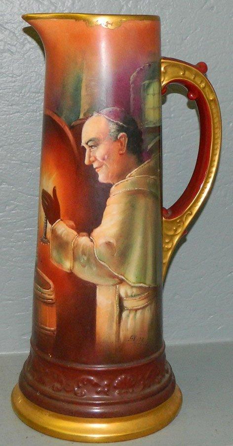 606: Limoges portrait tankard of a monk, signed
