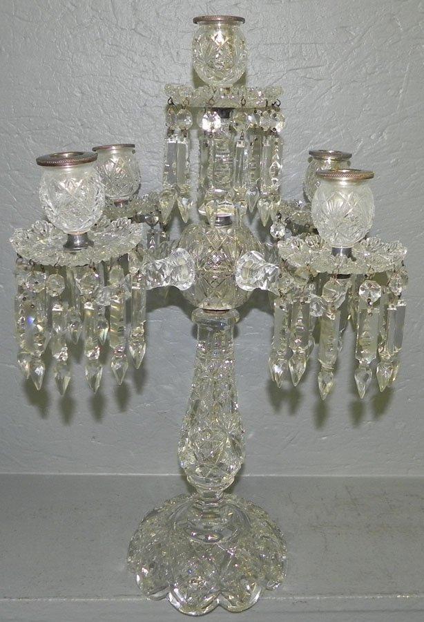 808: Beautiful cut glass 5 branch candelabra.