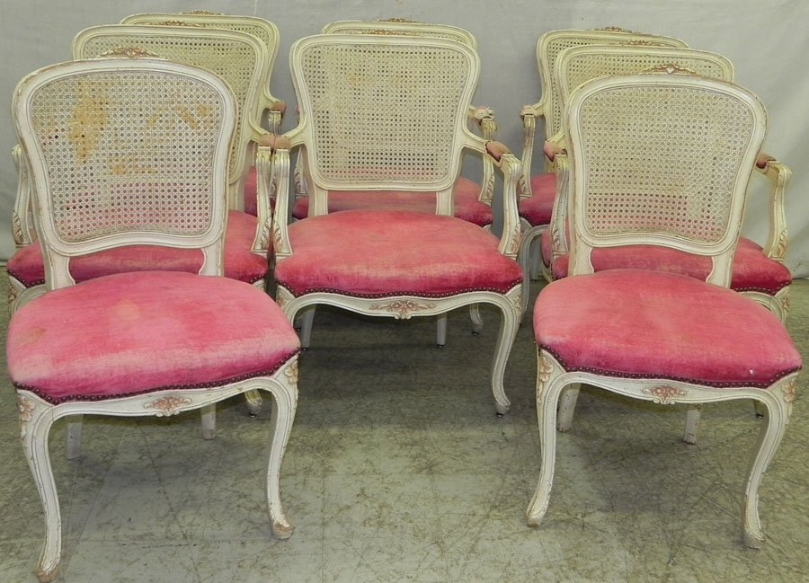 Set 8 French cane back upholstered seat chairs.