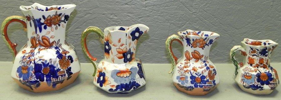 """4 Early 19th c. Masons ironstone pitchers. 3"""" - 6"""""""