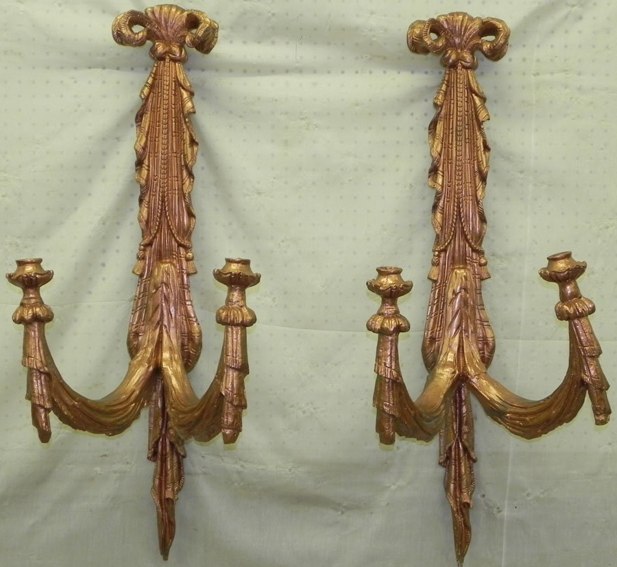 """Pair of wall sconces. 39"""" tall."""