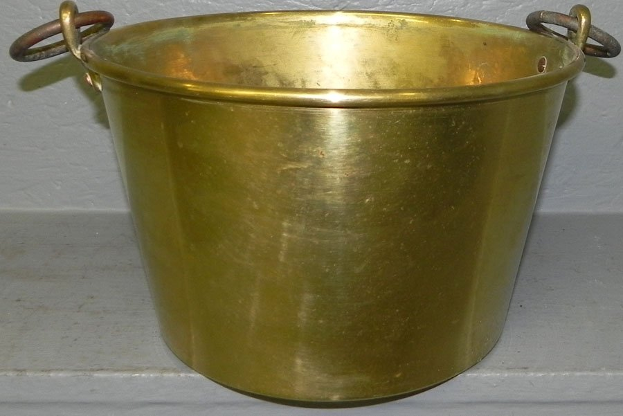Early American brass jelly bucket