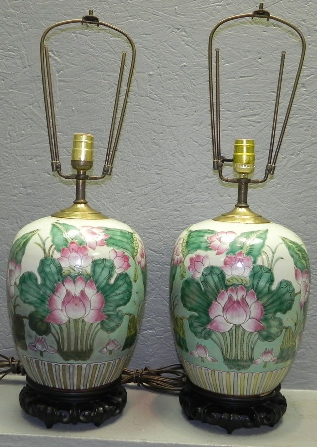 Pr Oriental vases converted to lamps
