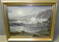 Oil painting of rough waves signed Robert Wee