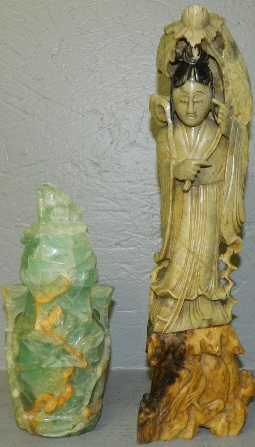 (1) Stone figure and (1) Jadeite figure.