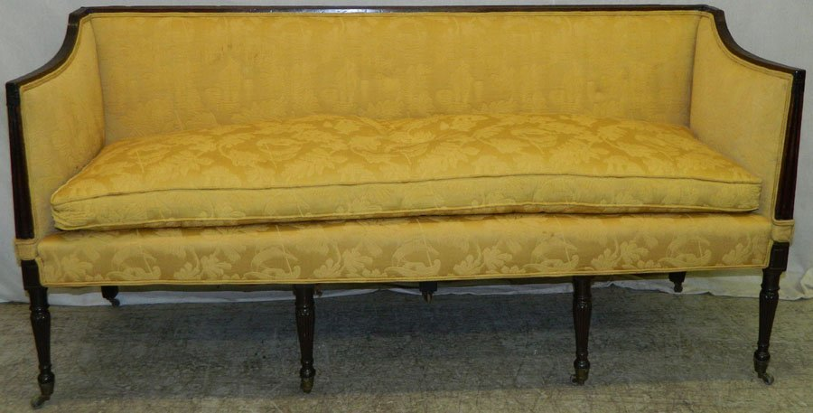 19th Century Sheraton sofa with down cushion.