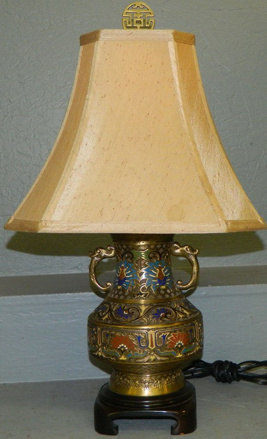 Champleve lamp from Rocky Mount estate.