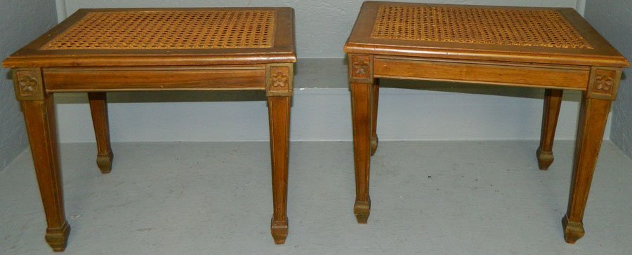 Pair of Fruitwood cane top stools with cushions.