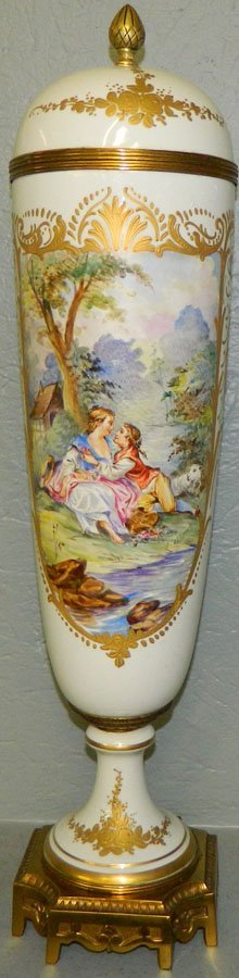 Artist signed French hand painted portrait vase.