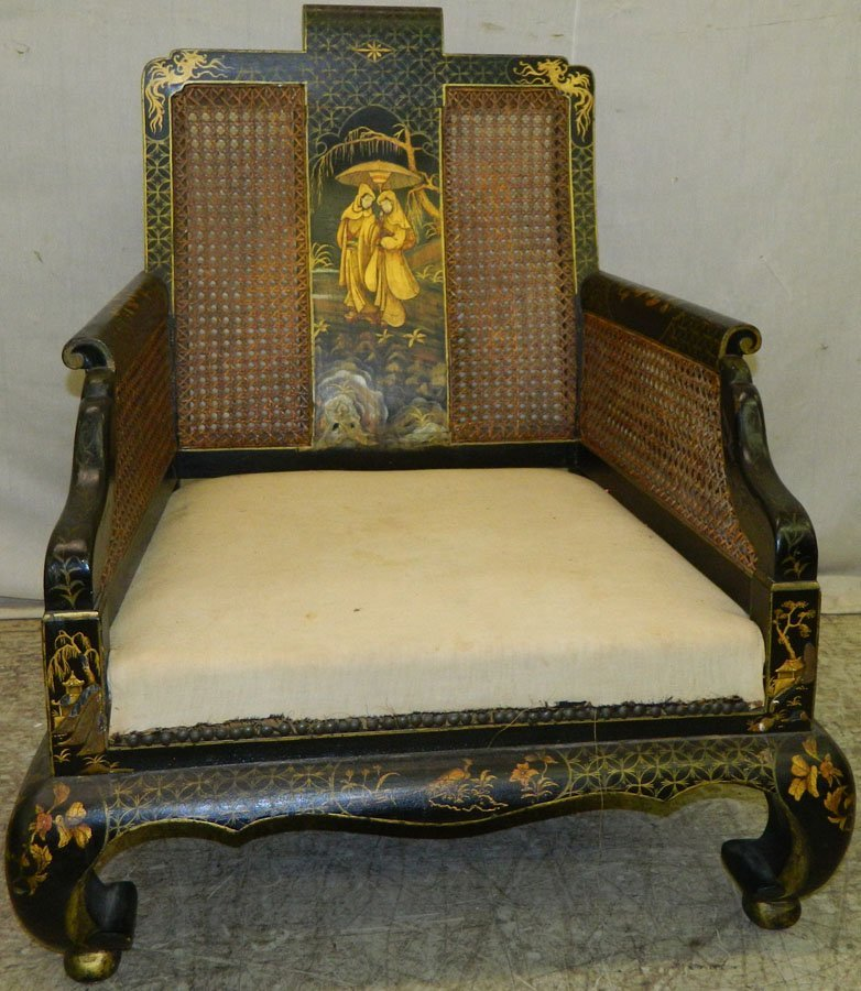 Chinoiserie cane back arm chair.