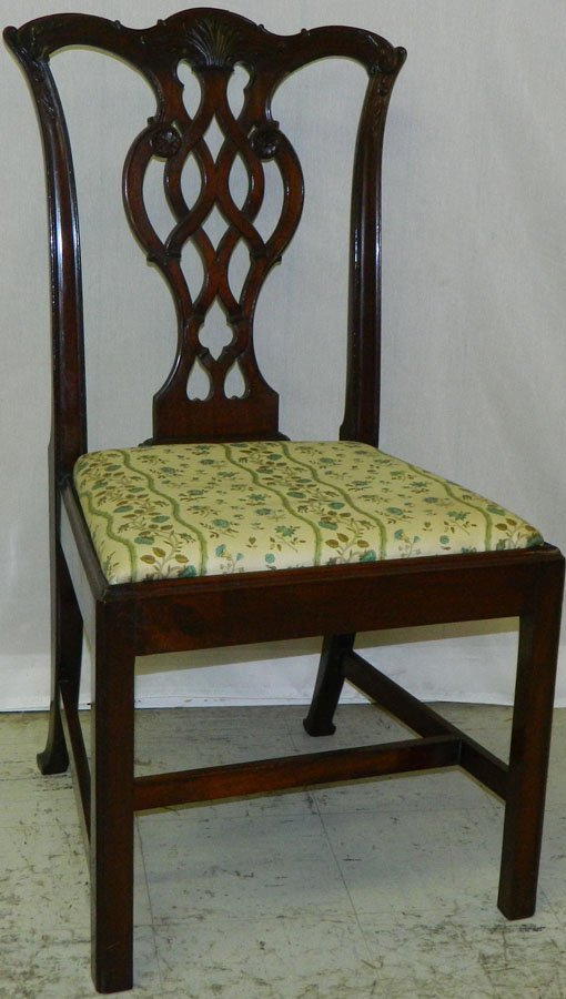 Mahogany straight leg Chippendale chair.