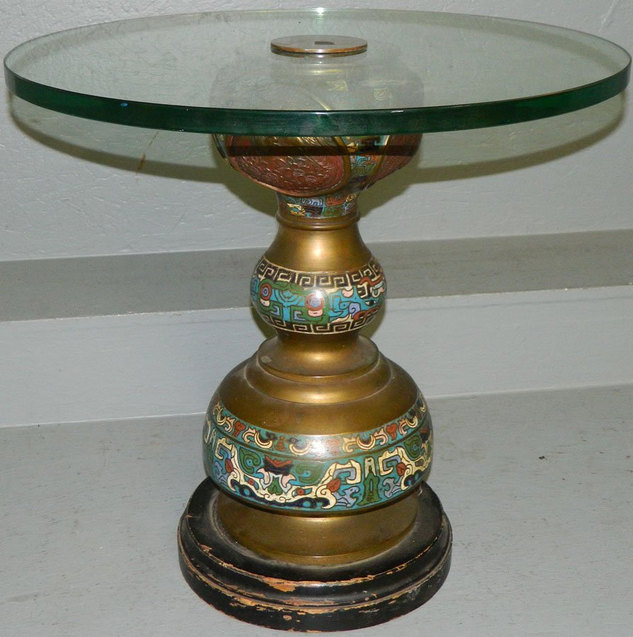 Cloisonne tea table with heavy glass top.