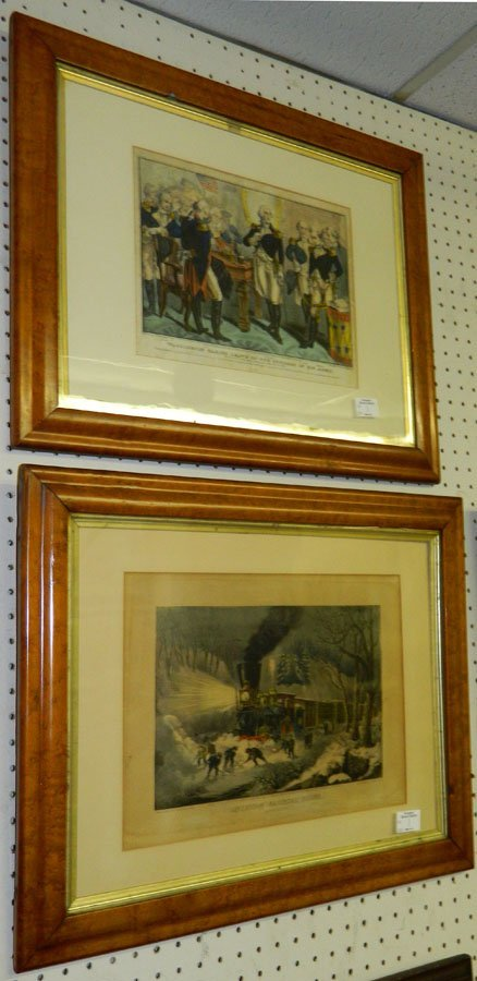(2) Currier and Ives colored prints.