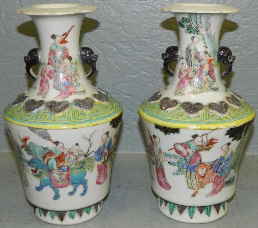 Pair of 19th Century porcelain Chinese vases.