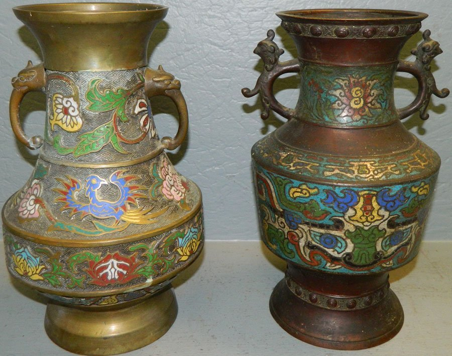 (2) Champleve vases.