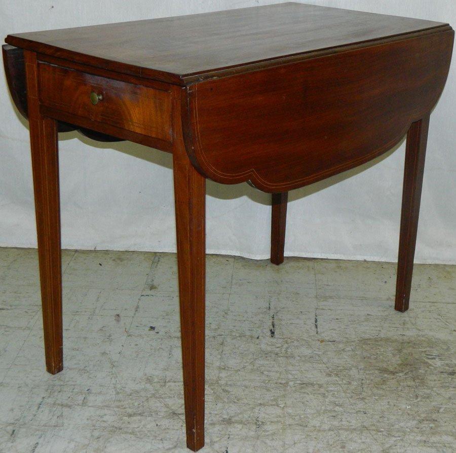 American Mahogany inlaid HW pembroke table.