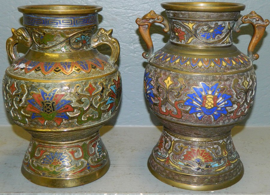 (2) Champleve urns.