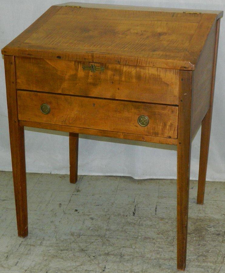 19th Century tiger maple school master's desk.