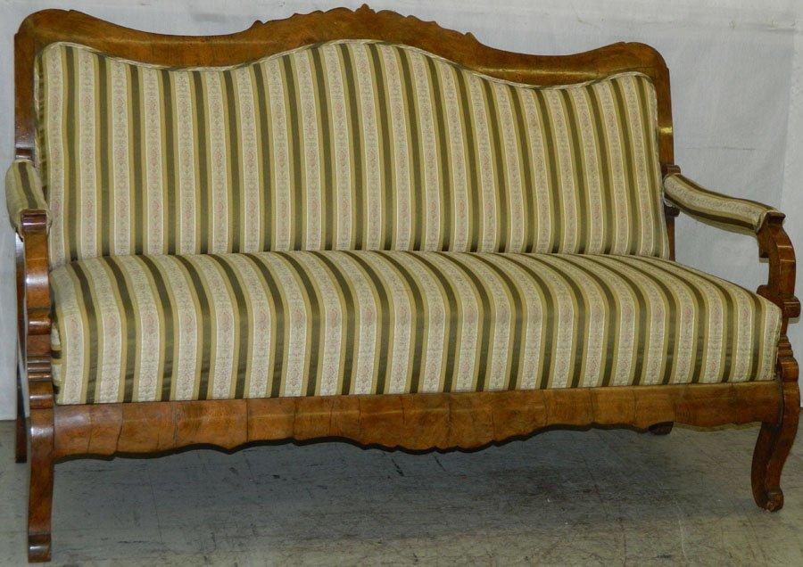 19th C French Biedermeier burl walnut sofa.