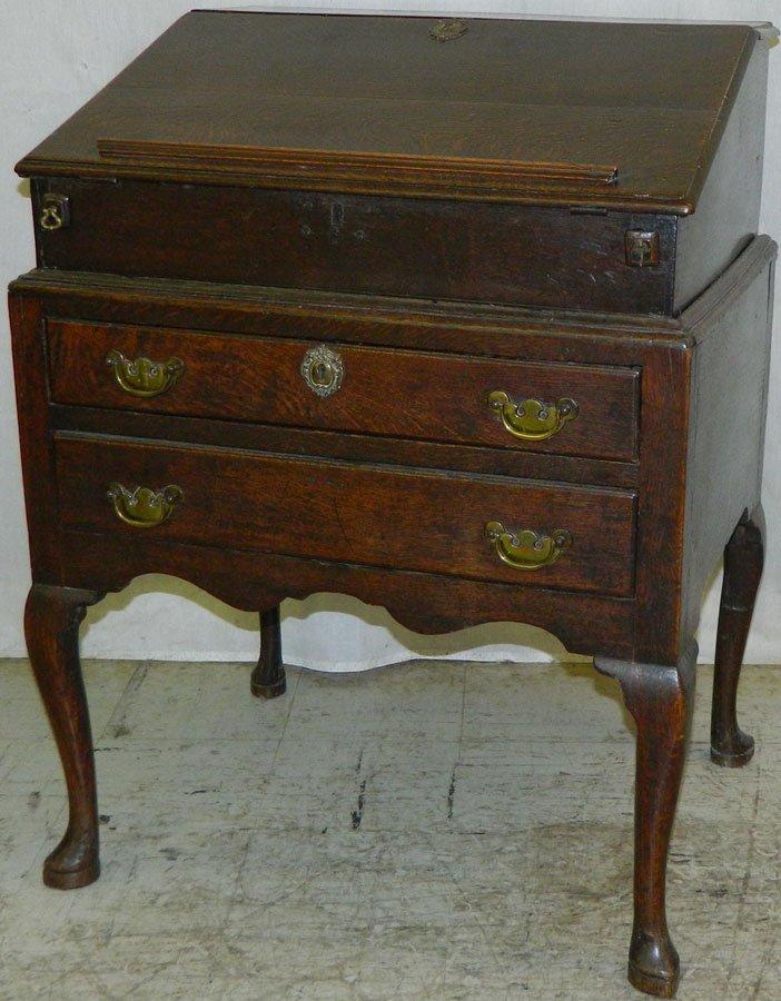 18th C English oak Queen Anne desk.