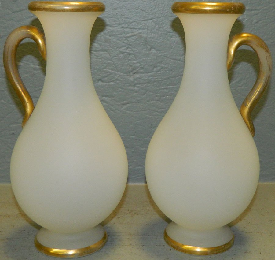 Pair of gilt and satin Bristol vases.