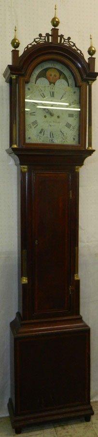 Signed Aaron Willard Inlaid mahog tall case clock.