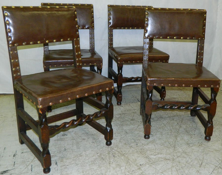 4 Jacobean style leather seat & back chairs.