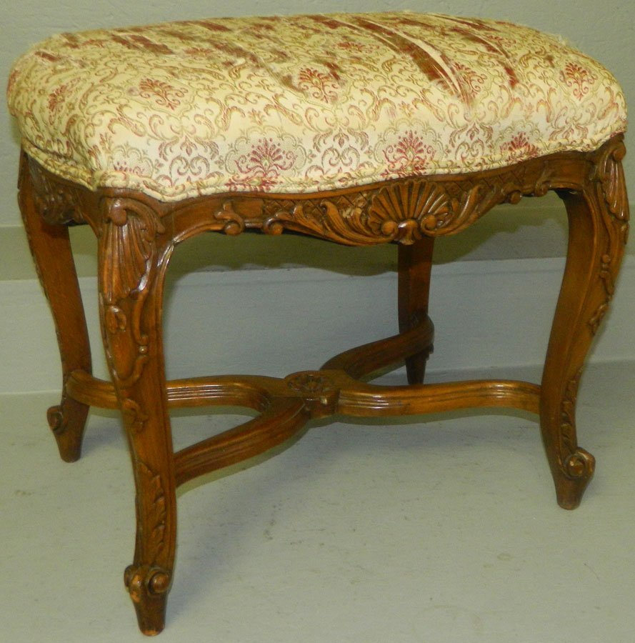 Early French carved fruitwood stool.