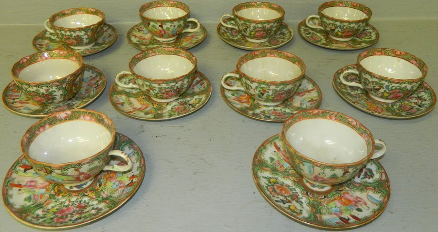 (10) Early Rose Mandarin cups and saucers.