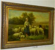 OOC of girl with sheep, signed L. Williams