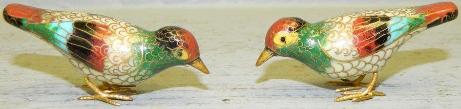 (2) Miniature cloisonne birds.