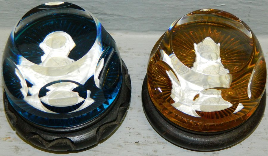 (2) Franklin mint Baccarat paper weights.