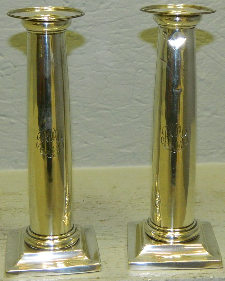Pair of sterling candlesticks.12.145 troy oz