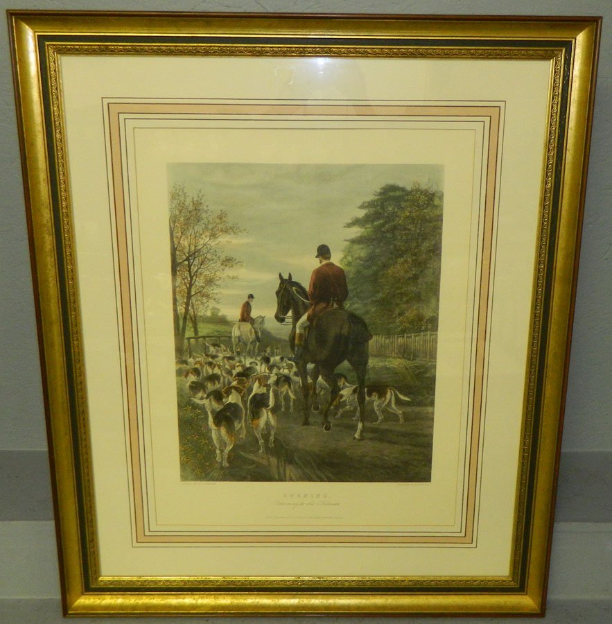 "Fox Hunt print or engraving entitled ""Evening""."