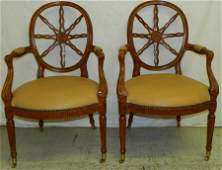 Pair of Maitland Smith spider web back chairs.