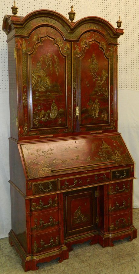 Chinoiserie Georgian style sec with fitted interior.