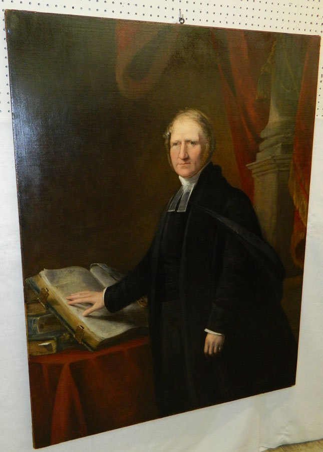 Large portrait painting of an elder with Bible.
