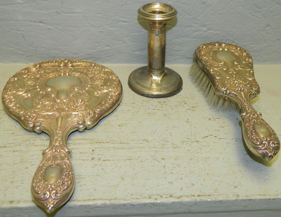 Sterling dresser set & overlay candlestick.