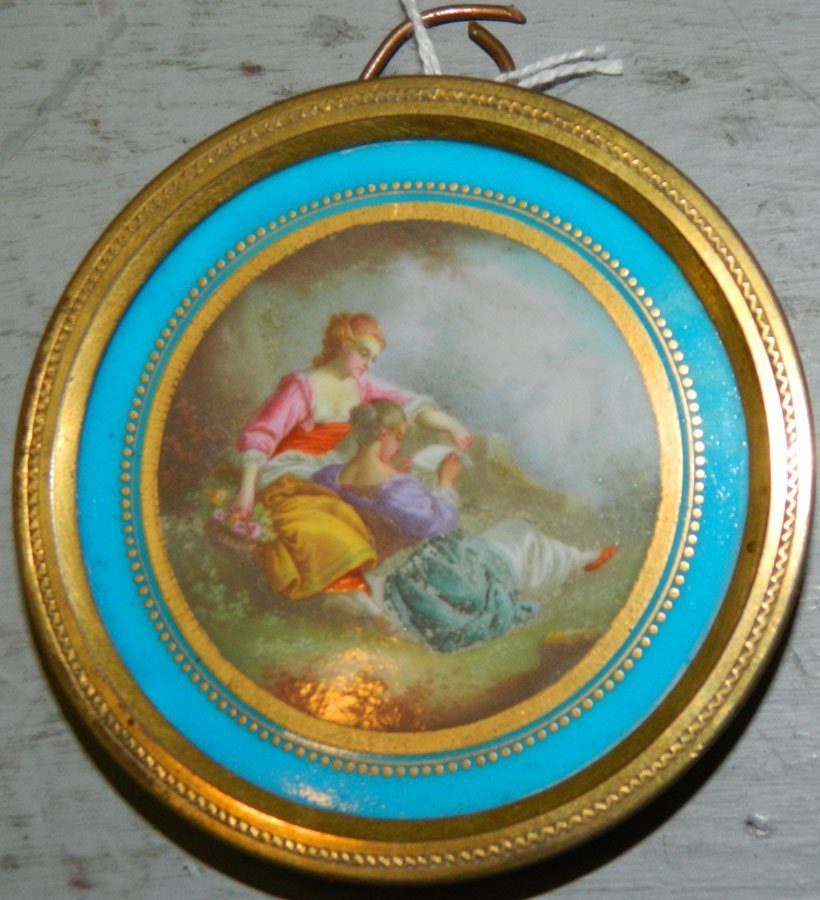 Small porcelain and bronze French plaque.