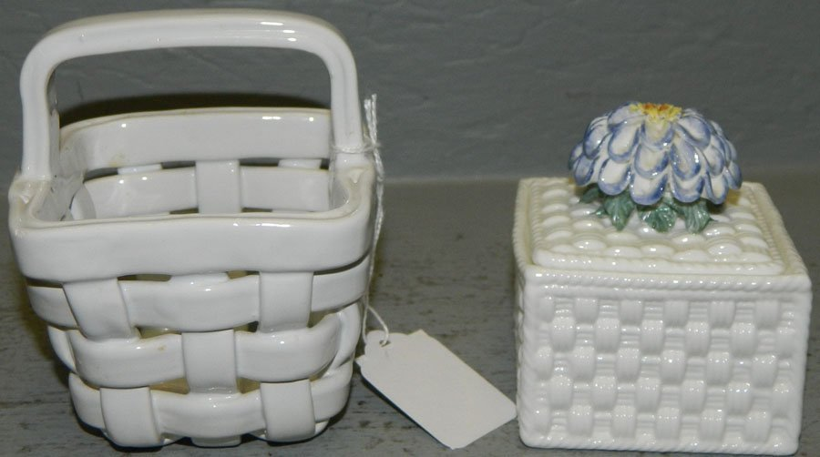 Tiffany quilted box and an open work basket.